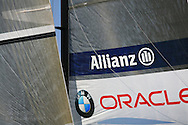 Detail view of USA's BMW Oracle Racing team's mainsail and genoa gib at 32nd America's Cup international yacht race; Valencia, Spain.