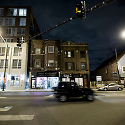 Chicago's Bucktown area at night, Milwaukee & Western Avenues.
