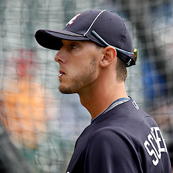 March 5, 2011; Lake Buena Vista, FL, USA; Atlanta Braves center fielder Jordan Schafer (1) before a spring training exhibition game against the New York Mets at Disney Wide World of Sports complex.  Mandatory Credit: Derick E. Hingle