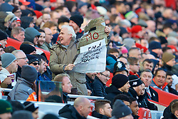LIVERPOOL, ENGLAND - Saturday, February 24, 2018: A Liverpool supporter with a banner written in Arabic for Mohamed Salah during the FA Premier League match between Liverpool FC and West Ham United FC at Anfield. (Pic by David Rawcliffe/Propaganda)