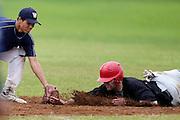 Howick-Pakuranga batter Aaron Campbell is tagged out but Westcity-Metro 2nd baseman Casey Nukunuku. New Zealand Baseball Nationals Final, Howick-Pakuranga v Westcity-Metro, Crossfields Reserve, Auckland, Sunday 11 March 2012. Photo: Simon Watts/photosport.co.nz