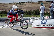 Women Junior #140 (JOUTEAU Emma) FRA at the 2018 UCI BMX World Championships in Baku, Azerbaijan.