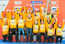Overall Nations Cup winning team of Germany  celebrate with a globe during final trophy ceremony after the Ski Flying Individual Competition at Day 4 of FIS World Cup Ski Jumping Final, on March 22, 2015 in Planica, Slovenia. Photo by Vid Ponikvar / Sportida
