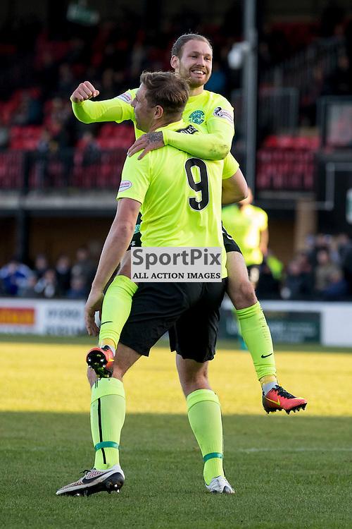Ayr v Hibernian   SPFL season 2016-2017  <br /> <br /> Martin Boyle (Hibernian) celebrates opening goal during the Ladbrokes Championship match between Ayr &amp; Hibernian at Somerset Park Stadium on 5 November 2016<br /> <br /> Picture: Alan Rennie