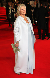 Judi Dench nominated  best leading actress for the Oscars 2014.<br /> Dame Judi Dench arriving  at the world premiere of Skyfall  in London, Tuesday, 23rd October 2012.  Photo by: Stephen Lock / i-Images