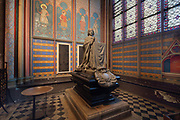 Mausoleum and commemorative plaque of Louis-Antoine Cardinal de Noailles, 1695-1729, archbishop of Paris 1695-1729, 1860, by Adolphe-Victor Geoffroy Deschaumes after drawings by Viollet-de-Duc, in the Chapelle Saint-Louis or Chapelle de Noailles, the 6th chapel of the ambulatory, in the Cathedrale Notre-Dame de Paris, or Notre-Dame cathedral, built 1163-1345 in French Gothic style, on the Ile de la Cite in the 4th arrondissement of Paris, France. The cardinal's heart is kept here in a porphyry urn, but his body is buried in the Chapel of the Virgin in the transept. Photographed on 17th December 2018 by Manuel Cohen