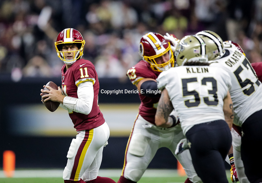 Oct 8, 2018; New Orleans, LA, USA Washington Redskins quarterback Alex Smith (11) against the New Orleans Saints during the first quarter at the Mercedes-Benz Superdome.