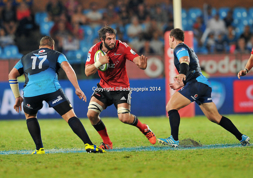 Sam Whitelock of the Bulls and Dean Greyling of the Bulls during the 2015 Super Rugby rugby match between the Bulls and the Crusaders at the Loftus Versfeld Stadium in Pretoria, South Africa on March 28, 2015 ©Samuel Shivambu/BackpagePix