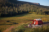 camper in the early morning at Flat Tops Wilderness Area, Colorado. http://www.gettyimages.com/detail/photo/kdesjardin_130906_5560-royalty-free-image/181426835