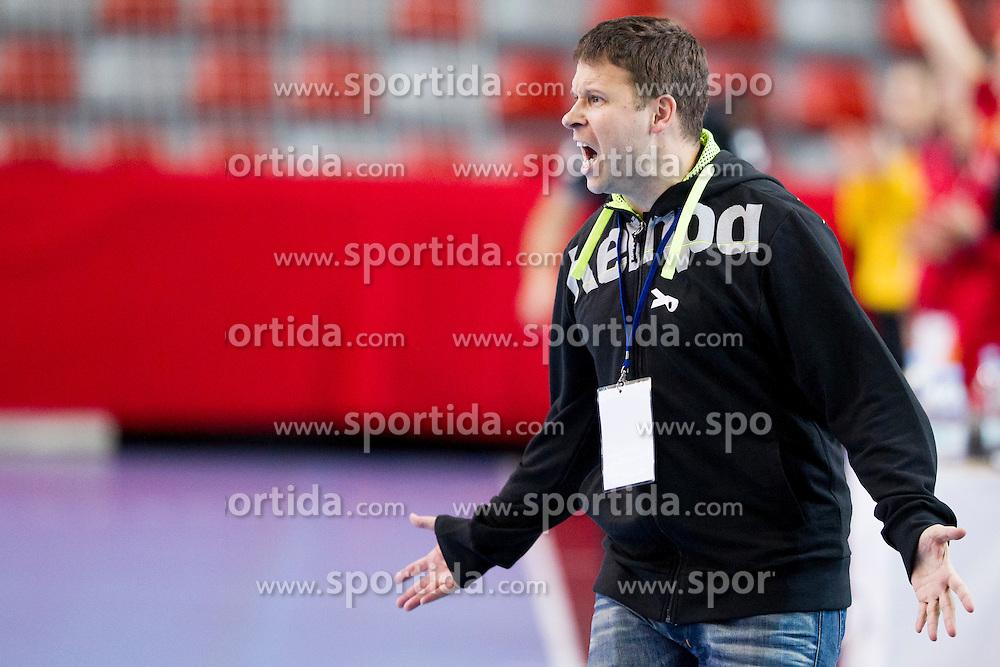 Uros Bregar, head coach of Slovenia during handball match between Women National Teams of Slovenia and Montenegro in 2016 Women's European Championship Qualification, on October 11, 2015 in Arena Kodeljevo, Ljubljana, Slovenia. Photo by Urban Urbanc / Sportida