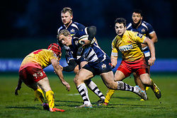 Bristol Rugby Winger Charlie Amesbury is challenged by Scarlets XV Winger Gavin Thomas - Mandatory byline: Rogan Thomson/JMP - 17/01/2016 - RUGBY UNION - Clifton Rugby Club - Bristol, England - Scarlets Premiership Select XV v Bristol Rugby - B&I Cup.