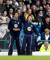 Photo: Jed Wee.<br />Leeds United v Southend United. Coca Cola Championship. 28/10/2006.<br /><br />Leeds' new manager Dennis Wise (R) shouts instructions from the touchline as assistant Gus Poyet looks on.