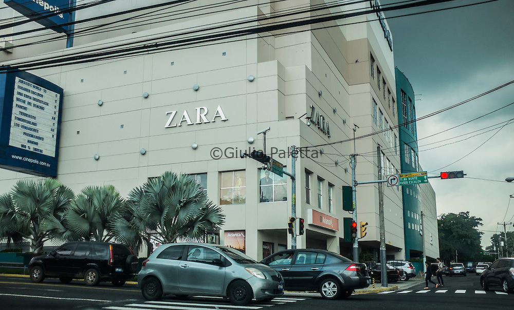 A big shop of the famous Spanish clothes company ZARA inside   a shopping mall in an upscale area of San Salvador. The influence of the Unites States and the western culture is very strong in El Salvador with big shopping malls being built everywhere in San Salvador and in other Salvadorian cities