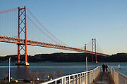 Bridge over Tagus river as seen from Lisbon.