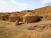 Reconstruction of buildings, Los Millares prehistoric Chalcolithic settlement archaelogical site, Almeria, Spain