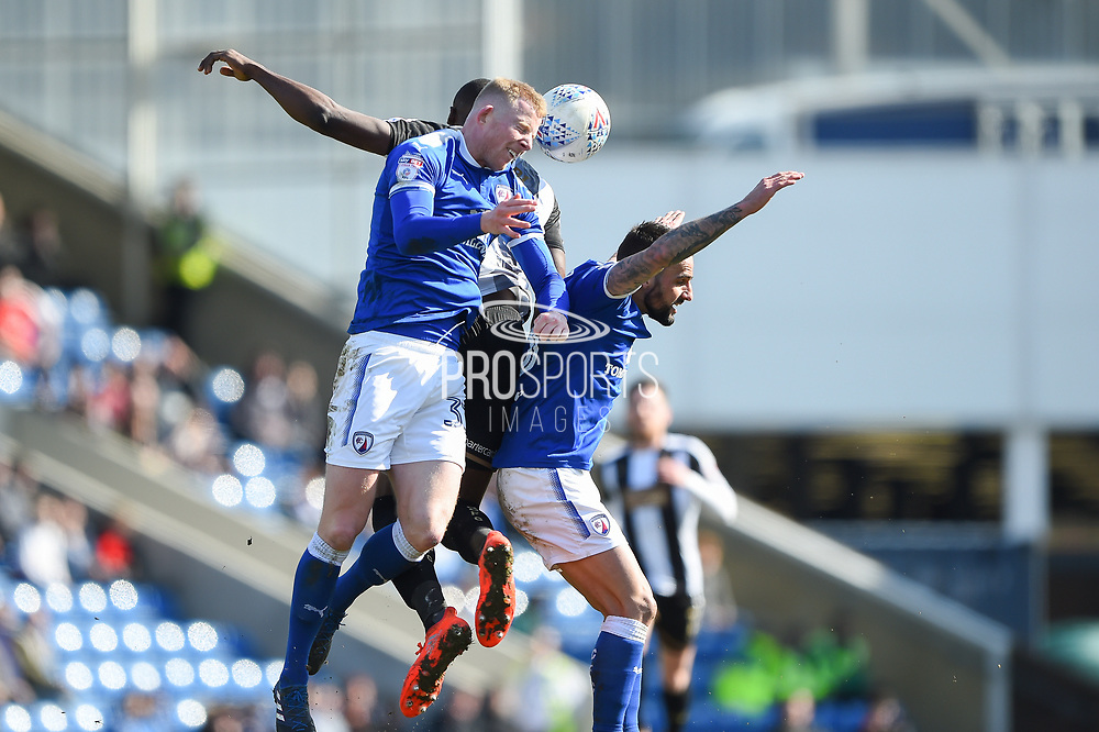 Chesterfield defender Alex Whitmore (33) during the EFL Sky Bet League 2 match between Chesterfield and Notts County at the b2net stadium, Chesterfield, England on 25 March 2018. Picture by Jon Hobley.