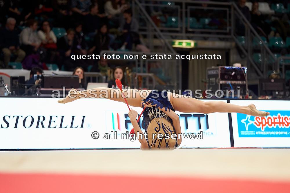Laura Paris della società Ginnastica Moderna Legnano durante la tappa di Bologna del campionato Italiano di Ginnastica Ritmica 2019.