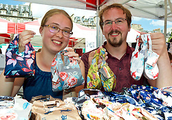Laura Badham and Graeme Campbell of gifts company Justice Brand, an exhibitor at Social in the Gardens, a two-day open air festival in Princes Street Gardens, Edinburgh. Pic copyright Terry Murden @edinburghelitemedia