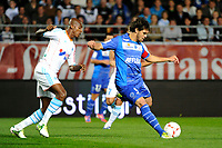 FOOTBALL - FRENCH CHAMPIONSHIP 2012/2013 - L1 - ES TROYES v OLYMPIQUE MARSEILLE  - 21/10/2012 - PHOTO JEAN MARIE HERVIO / REGAMEDIA / DPPI - MARCOS (ESTAC) / CHARLES KABORE (OM)