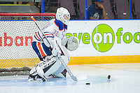 PENTICTON, CANADA - SEPTEMBER 17: Dylan Wells #30 of Edmonton Oilers warms up in net against the Calgary Flames on September 17, 2016 at the South Okanagan Event Centre in Penticton, British Columbia, Canada.  (Photo by Marissa Baecker/Shoot the Breeze)  *** Local Caption *** Dylan Wells;