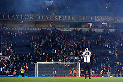 Burnley manager Sean Dyche applauds the fans through a blue mist at full time - Mandatory by-line: Matt McNulty/JMP - 23/08/2017 - FOOTBALL - Ewood Park - Blackburn, England - Blackburn Rovers v Burnley - Carabao Cup - Second Round