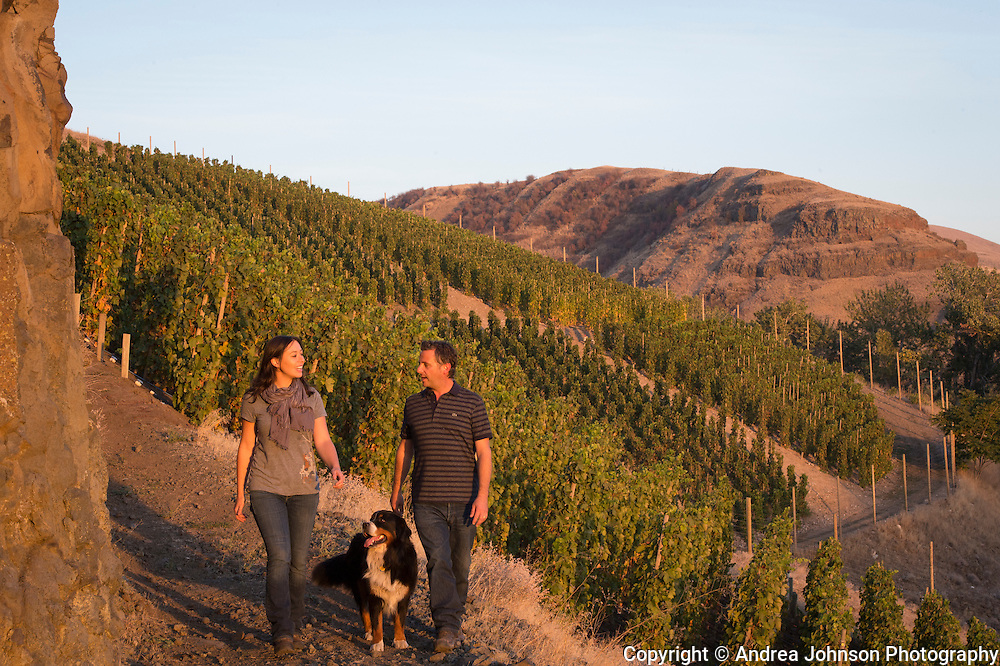 Christophe Baron and Cecile Randon at Cayuse's Hors Categorie Vineyard outside of Milton Freewater, Oregon