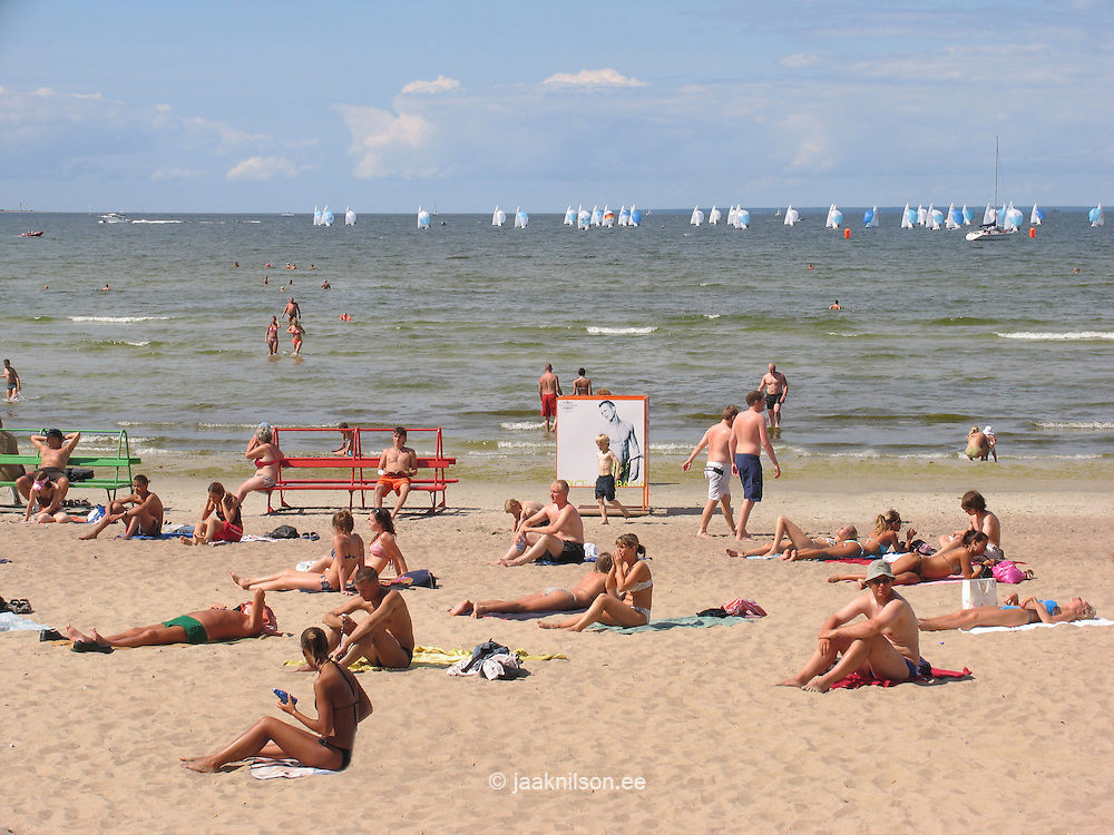 Sunbathers on Pirita Beach By Baltic Sea in Tallinn, Estonia