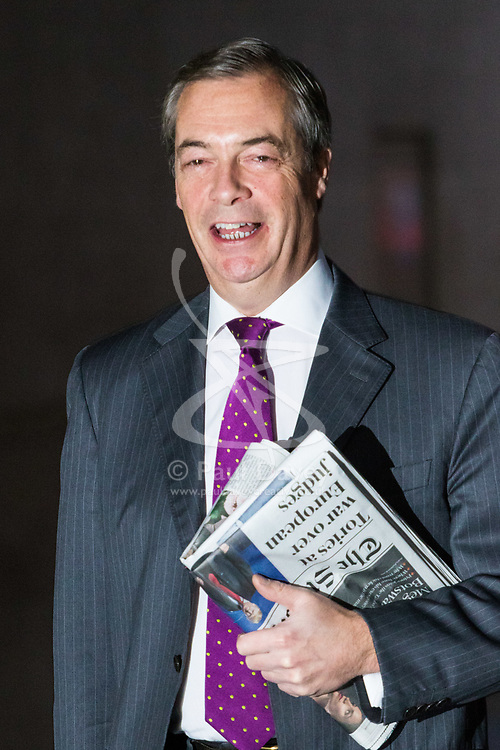London, December 03 2017. Former UKIP leader Nigel Farage attends the Andrew Marr Show at the BBC's New Broadcasting House in London.. © Paul Davey