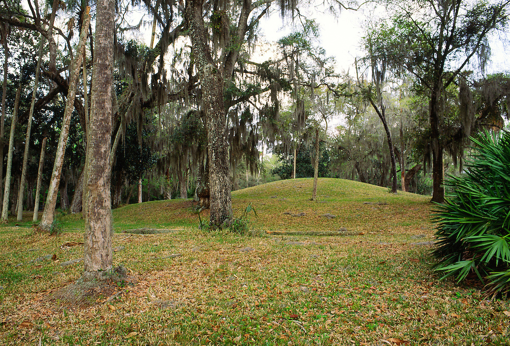 Prehistoric complex at Crystal River on Florida's west coast, USA. Native Indian ritual mound of the Mississippi Culture