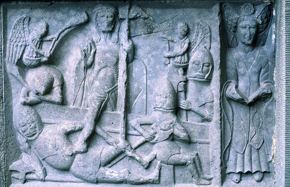Panel of 15thC MacMahon tomb, Ennis Friary, Co. Clare, Ireland. Resurrection of Christ, N.B. contemporaneous swastika top centre