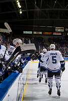 KELOWNA, CANADA - OCTOBER 5: Mitchell Prowse #5 of the Victoria Royals fist bumps teammates on the bench after a goal against the Kelowna Rockets  on October 5, 2018 at Prospera Place in Kelowna, British Columbia, Canada.  (Photo by Marissa Baecker/Shoot the Breeze)  *** Local Caption ***