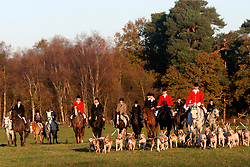 UK ENGLAND SURREY TILFORD 13NOV04 - A hunting party on horseback is surrounded by hounds as they return from a foxhunt near the village of Tilford in southern Surrey. Foxhunting in rural Surrey with the Surrey Hunters Union, founded in 1798. ....jre/Photo by Jiri Rezac ....© Jiri Rezac 2004....Contact: +44 (0) 7050 110 417..Mobile:  +44 (0) 7801 337 683..Office:  +44 (0) 20 8968 9635....Email:   jiri@jirirezac.com..Web:    www.jirirezac.com....© All images Jiri Rezac 2004 - All rights reserved.