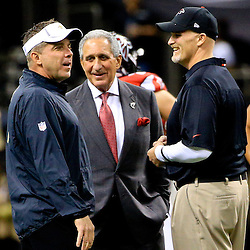 Oct 15, 2015; New Orleans, LA, USA; New Orleans Saints head coach Sean Payton and Atlanta Falcons head coach Dan Quinn along with owner Arthur Blank before a game at the Mercedes-Benz Superdome. Mandatory Credit: Derick E. Hingle-USA TODAY Sports
