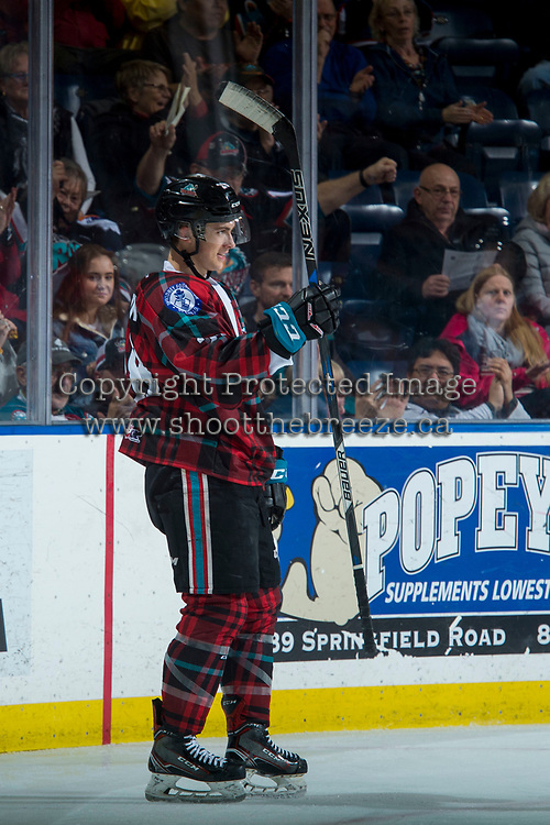 KELOWNA, CANADA - MARCH 10: Leif Mattson #28 of the Kelowna Rockets celebrates a goal against the Kamloops Blazers  on March 10, 2018 at Prospera Place in Kelowna, British Columbia, Canada.  (Photo by Marissa Baecker/Shoot the Breeze)  *** Local Caption ***