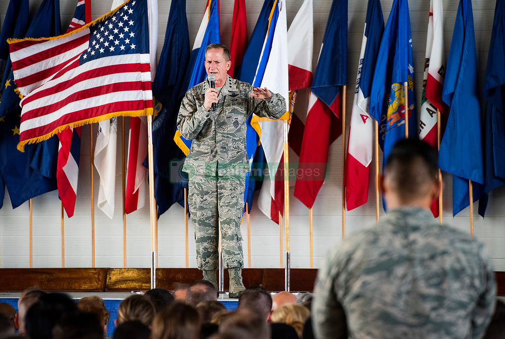 Chief of Staff of the Air Force Gen. David L. Goldfein addresses an Airman during an all-call June 28, 2018 at Eglin Air Force Base, Fla. Goldfein spent two days visiting Eglin AFB, the Air Force Enlisted Village and Hurlburt Field.  (U.S. Air Force photo by Samuel King Jr.)