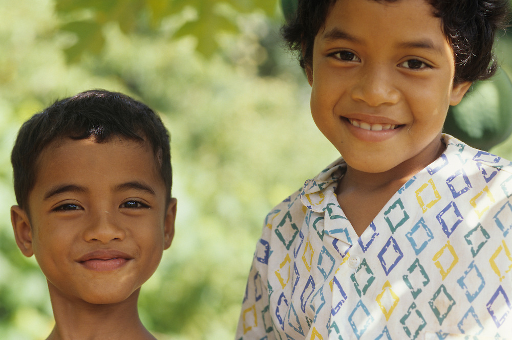 Siling and Thurgow Yad, Native children, Yap, Wa`ab, Waqab, Federated States of Micronesia, islands in the Caroline Islands