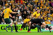Radike Samo is tackled during the Tri Nations and Bledisloe Cup Rugby Union Test Match. Australian Wallabies v New Zealand, Suncorp Stadium, Brisbane, Australia on Saturday 27 August 2011.  Photo: Patrick Hamilton/Photosport