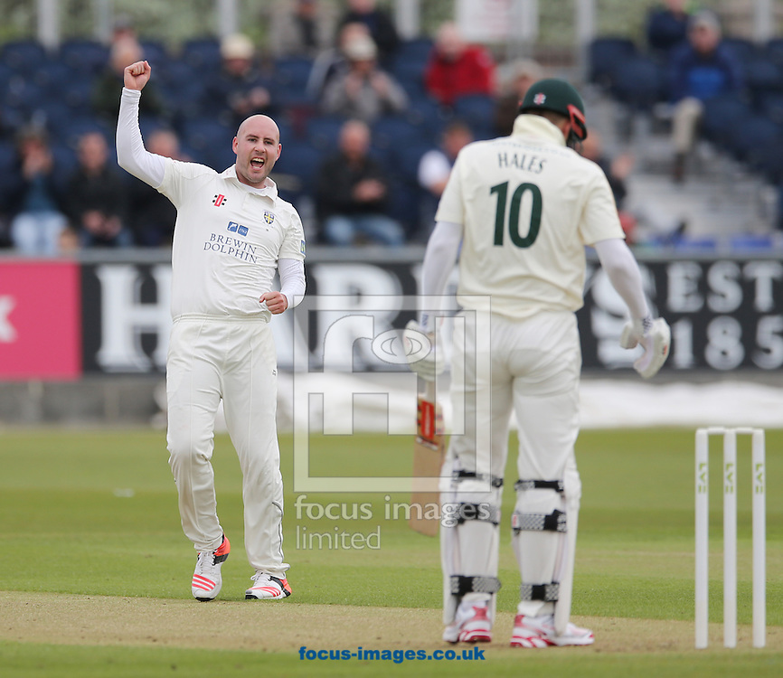 Chris Rushworth (l) of Durham celebrates the wicket of Alex Hales of Nottinghamshire during the LV County Championship Div One match at Emirates Durham ICG, Chester-le-Street<br /> Picture by Simon Moore/Focus Images Ltd 07807 671782<br /> 10/05/2015