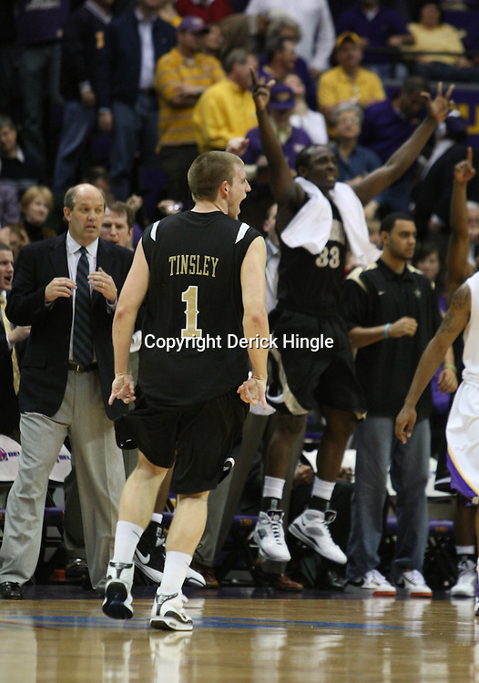 4 March 2009:  Brad Tinsley (1) celebrates with teammates after hitting a shot late in the fourth quarter during a 75-67 loss by the LSU Tigers to the Vanderbilt Commodores at the Pete Maravich Assembly Center in Baton Rouge, LA.