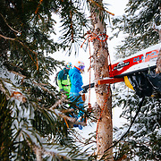 Jess McMillan and Tanner Flanagan prepare to ski the backcountry near Jackson Hole Mountain Resort.