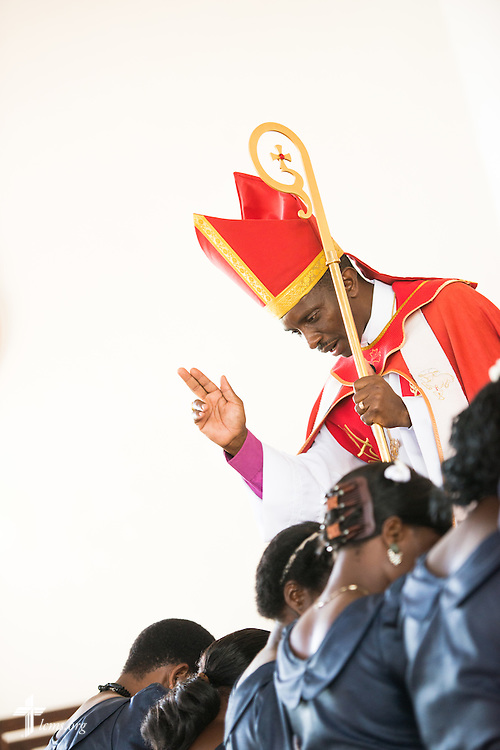 Bishop Emmanuel Makala commissions seven new deaconesses during a service with more than 1,000 worshippers on Sunday, March 15, 2015, at the Evangelical Lutheran Church in Tanzania – South-East of Lake Victoria Diocese's (ELCT-SELVD) Ebenezer Cathedral in Shinyanga, Tanzania. LCMS Communications/Erik M. Lunsford
