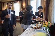 The Templeton Scholars mingle with each other, President McDavis, and Deborah McDavis at the end of the Templeton Scholars reception on Sept. 7, 2016.