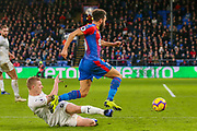 Burnley defender Ben Mee (6) brings down Crystal Palace midfielder Andros Townsend (10) during the Premier League match between Crystal Palace and Burnley at Selhurst Park, London, England on 1 December 2018.