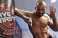 MANCHESTER, ENGLAND, NOVEMBER 11, 2009: Mike Swick throws an elbow strike on a punch bag at the open work-outs for UFC 105 at the Crowne Plaza Hotel in Manchester, England on November 11, 2009.