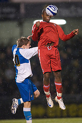 BRISTOL, ENGLAND - Thursday, January 15, 2009: Liverpool's David Amoo in action against Bristol Rovers' Eliot Richards during the FA Youth Cup match at the Memorial Stadium. (Mandatory credit: David Rawcliffe/Propaganda)