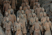 Pit 1, the excavation site of the Terracotta Army of Emperor Qin Shi Huang, the first emperor of China. The Army was buried with the Emperor in about  210–209 BCE. Their purpose was to protect the emperor in the afterlife. Mausoleum of the First Qin EmperorXi'an, Shaanxi Province, China.
