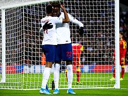 Marcus Rashford and Tammy Abraham of England celebrate after Montenegro score an own goal to make it 6-0 - Rogan/JMP - 14/11/2019 - FOOTBALL - Wembley Stadium - London, England - England v Montenegro - UEFA Euro 2020 Qualifiers.