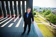 Fayetteville, AR: Peter MacKeith, the new head of the University of Arkansas' Fay Jones School of Architecture in Fayetteville, Arkansas on May 20, 2014.<br /> <br /> Photography by Wesley Hitt