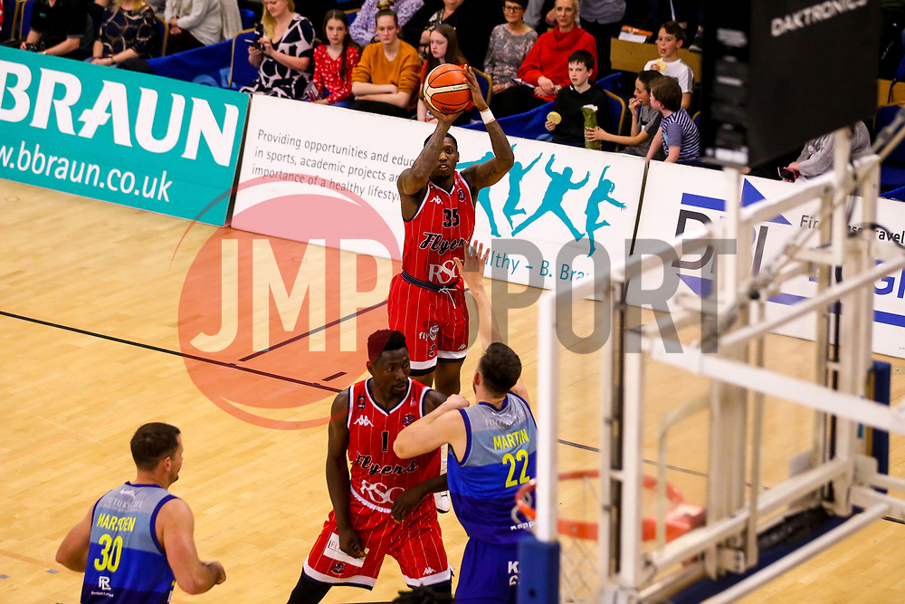 Fred Thomas of Bristol Flyers shoots - Photo mandatory by-line: Robbie Stephenson/JMP - 29/03/2019 - BASKETBALL - English Institute of Sport - Sheffield, England - Sheffield Sharks v Bristol Flyers - British Basketball League Championship