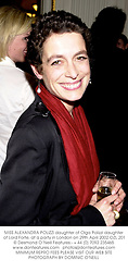 MISS ALEXANDRA POLIZZI daughter of Olga Polizzi daughter of Lord Forte, at a party in London on 29th April 2002.	OZL 201